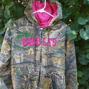 🐴 CABELAS Ladies Pink & Camo Sweatshirt Sz L